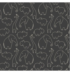 One line african animals seamless pattern vector