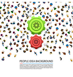 people around gears on a white background vector image vector image