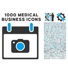 Photo camera calendar day icon with 1000 medical vector