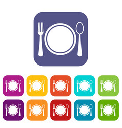 Place setting with platespoon and fork icons set vector