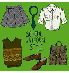 School uniform set vector image vector image