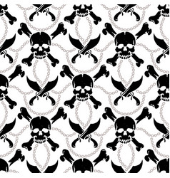 Seamless pattern pirate skulls vector