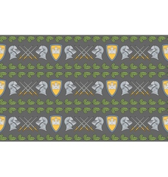 seamless pattern with shields swords and helmets vector image