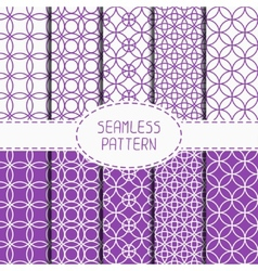 Set of purple geometric seamless pattern with vector image vector image