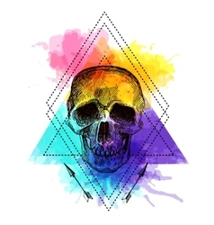 Tattoo style skull vector image vector image