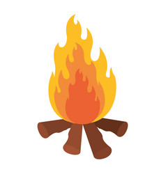 White background with bonfire icon vector