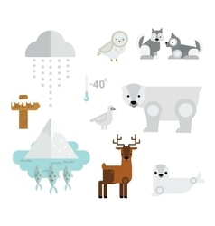 Wild north arctic animals symbols vector