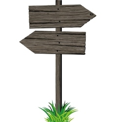 Wooden arrows road sign vector image vector image