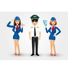 Young friendly pilot and two stewardesses vector