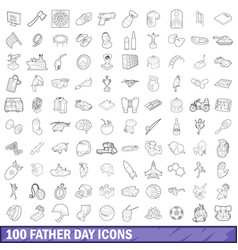 100 father day icons set outline style vector image