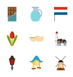 Country holland icons set flat style vector