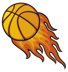 basketball ball in fire vector image