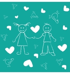 Freehand drawing boy and girl great love vector