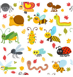 Cute cartoon seamless pattern with insects and vector