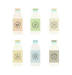 Set of plant based milk bottles vector