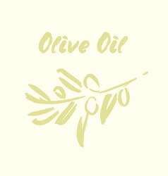 Ink hand drawn olive tree branches vector