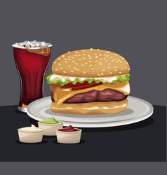 Delicious burger soda cold sauces fast food eating vector