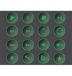 Cool green multimedia buttons vector image