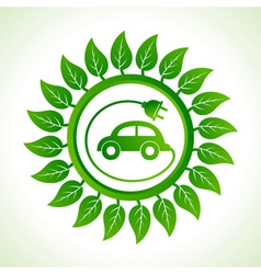 Eco car inside the leaf background vector image