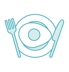 cutlery kitchen with egg fried vector image