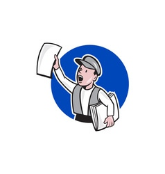 Newsboy Selling Newspaper Circle Cartoon vector image