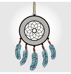 Boho dream catcher with feathers indian symbol in vector