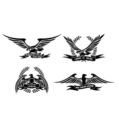 Eagle heraldic labels with laurel wreaths shields vector