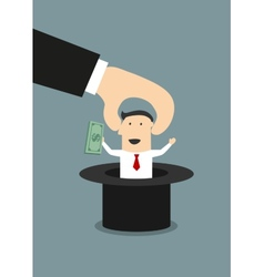 Boss takes out of a hat happy businessman vector image