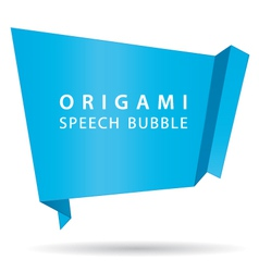 Blue origami speech bubble vector