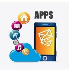 Mobile applications and technology icons design vector