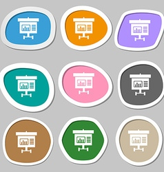 Graph icon sign multicolored paper stickers vector