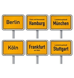City limits signs of major german cities part 1 vector