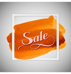 Sale label on the orange watercolor stain vector