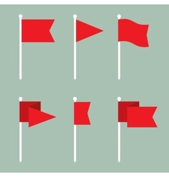 Flag pin flat icon set vector