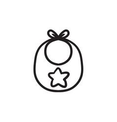 baby bib sketch icon vector image