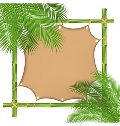 Bamboo frame with a canvas vector image