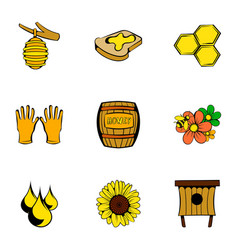 Bee garden icons set cartoon style vector