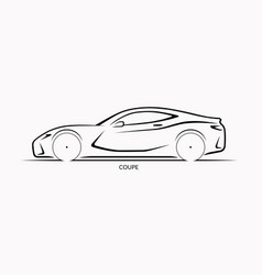 Car silhouette side view of sports coupe vector
