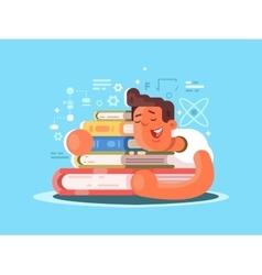 Cartoon man sleep on book vector image vector image