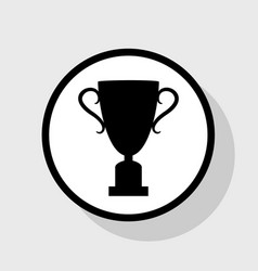 Champions cup sign flat black icon in vector