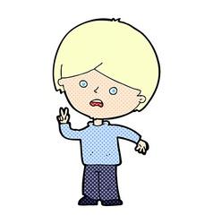 comic cartoon unhappy boy giving peace sign vector image vector image