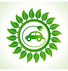Eco car inside the leaf background vector image