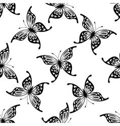 Flying butterflies seamless background pattern vector image vector image