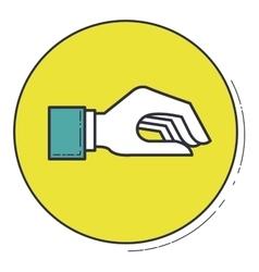 Hand icon inside green button design vector