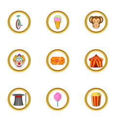 happy circus icon set cartoon style vector image vector image