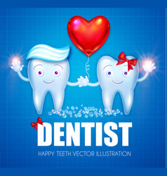Helthy teeth with toothpaste bubbles bow and red vector