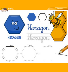 Hexagon cartoon basic geometric shapes vector
