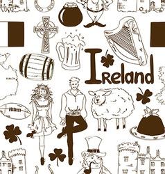 Irish symbols seamless pattern vector image