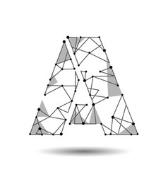 low poly letter a english latin cyrillic vector image vector image