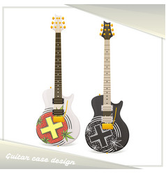 Medical marijuana guitar six vector